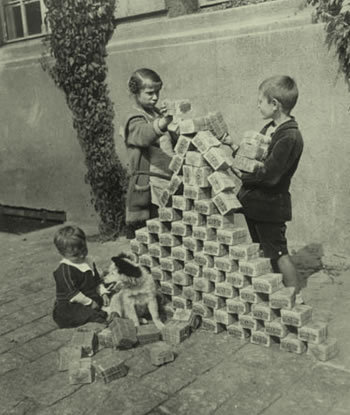 Deutchmarks became so worthless that they were worth more as children's building blocks than currency